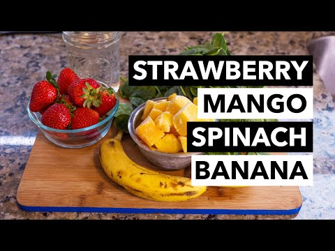 Green Smoothie Recipe 1: Strawberry, Mango, Spinach, Banana, and Water (from 30-day GSC)