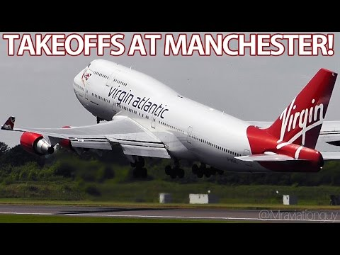 ROTATE! Very Close + Loud Takeoffs | Big Jets A380 A340 747 777 MD83 | Manchester Airport with ATC!