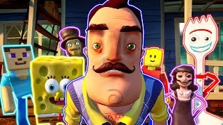 My New Neighbors are from Hello Neighbor,Minecraft,Toy Story 4,Lego,Dark Deception,Showdown Bandit
