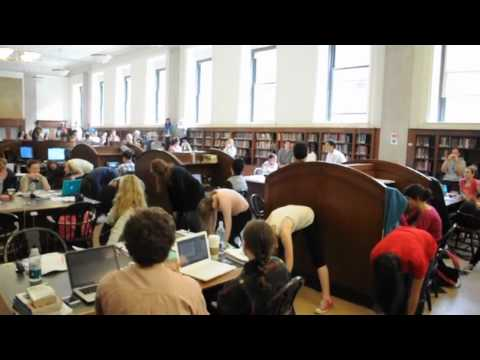 Flash mob in Butler Library at Columbia University