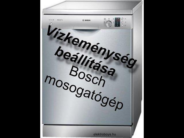 Bosch smi24 Mosogatógép vízkeménység beállítás (Bütykölünk #3)