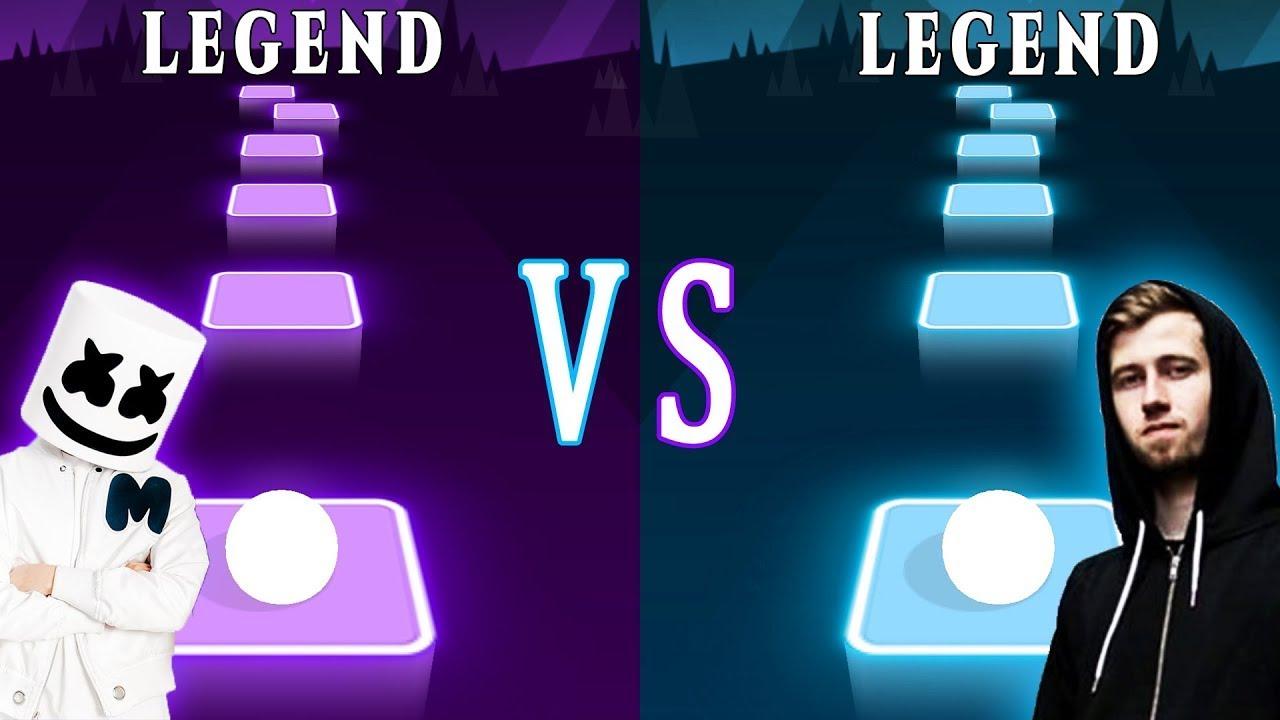 Download Alone  Marshmello VS Alan Walker  Faded Which is better?   Tiles Hop EDM Rush!   TRZ