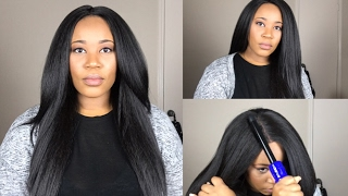 Best Synthetic Kinky Straight Hair🤔| Getting Your Wig To Lay Flat | Magic Lace U-Shape MLUH99