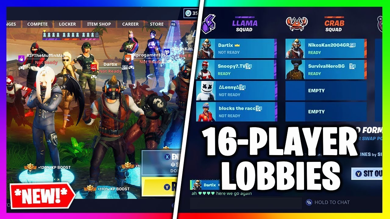16 Player Lobbies In Fortnite New Feature Fortnite Battle Royale
