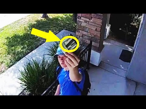 Mom doesnt dare open door  then looks at security cam and sees teenager