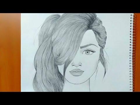 تعليم رسم بنت بقلم الرصاص بطريقة سهلة وبسيطة طريقة رسم وجه بنت