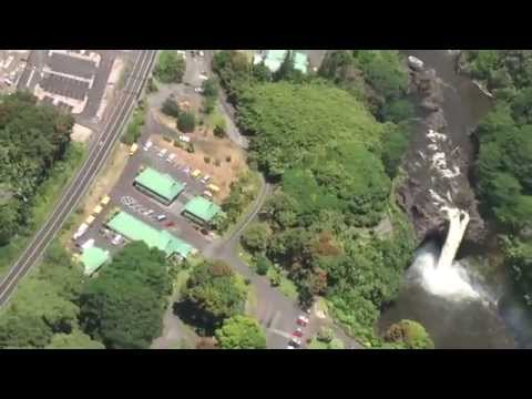 Helicopter over Hilo Hawaii: to Rainbow Falls and Hilo Medical Center