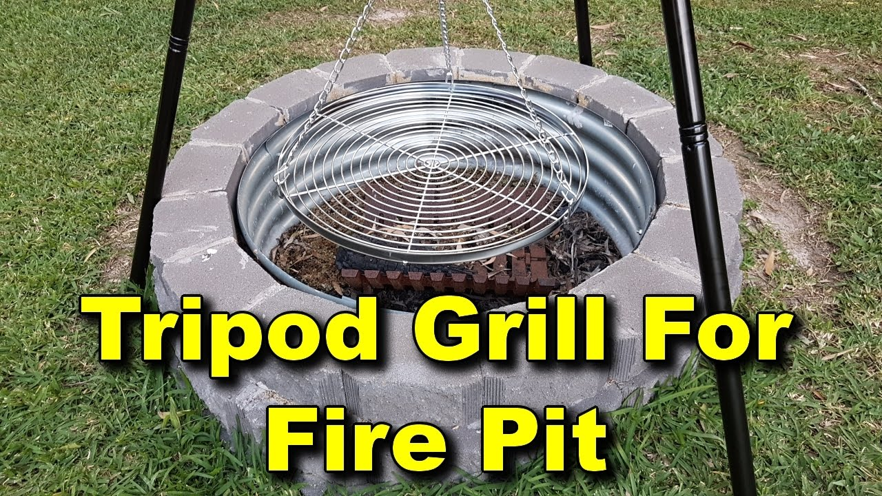 Tripod Grill Setup For Fire Pit   Adjustable Pulley System