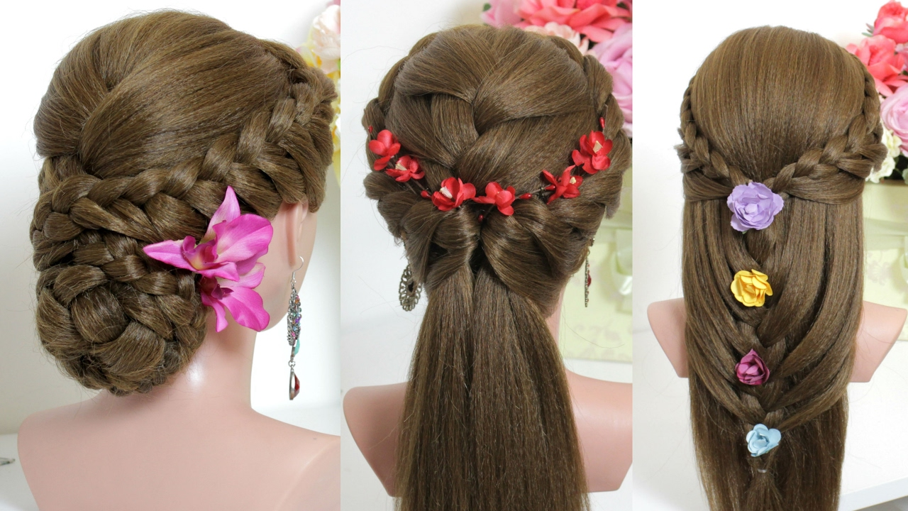 3 easy hairstyles for long hair tutorial - YouTube