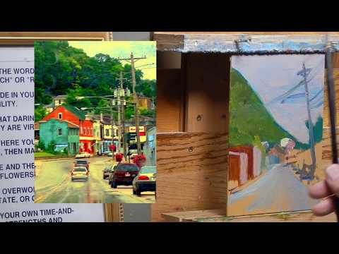 TomFisherArt 89 oil painting Town City Architecture Street Landscape Instruction