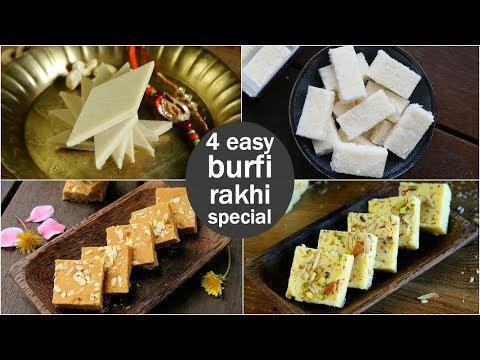 4 easy burfi recipes | barfi recipes for rakhi festival | रक्षा बंधन की बर्फी रेसिपी
