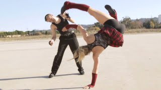 Repeat youtube video Karate/Gym Girl vs Kickboxer Guy Fight Scene (Lili Rochefort / Tekken Style)