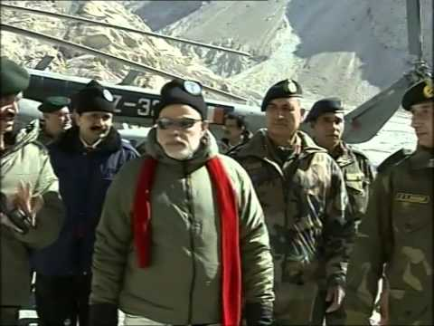 PM Modi arrival at Siachen Base Camp