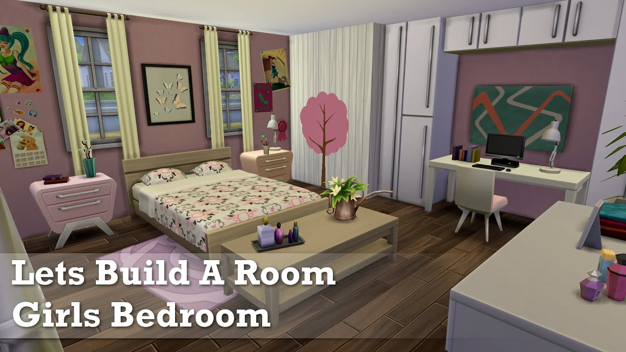The sims 4 room build girls bedroom youtube for Bedroom designs sims 4