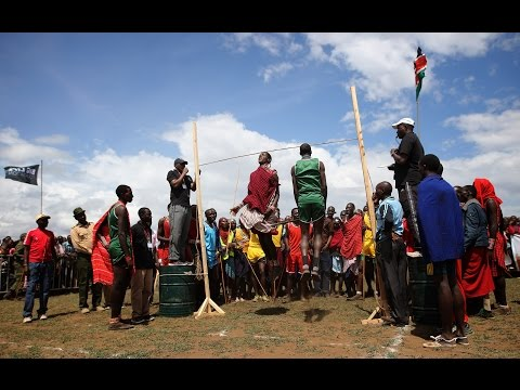 Maasai-warrior style high jump in Africa