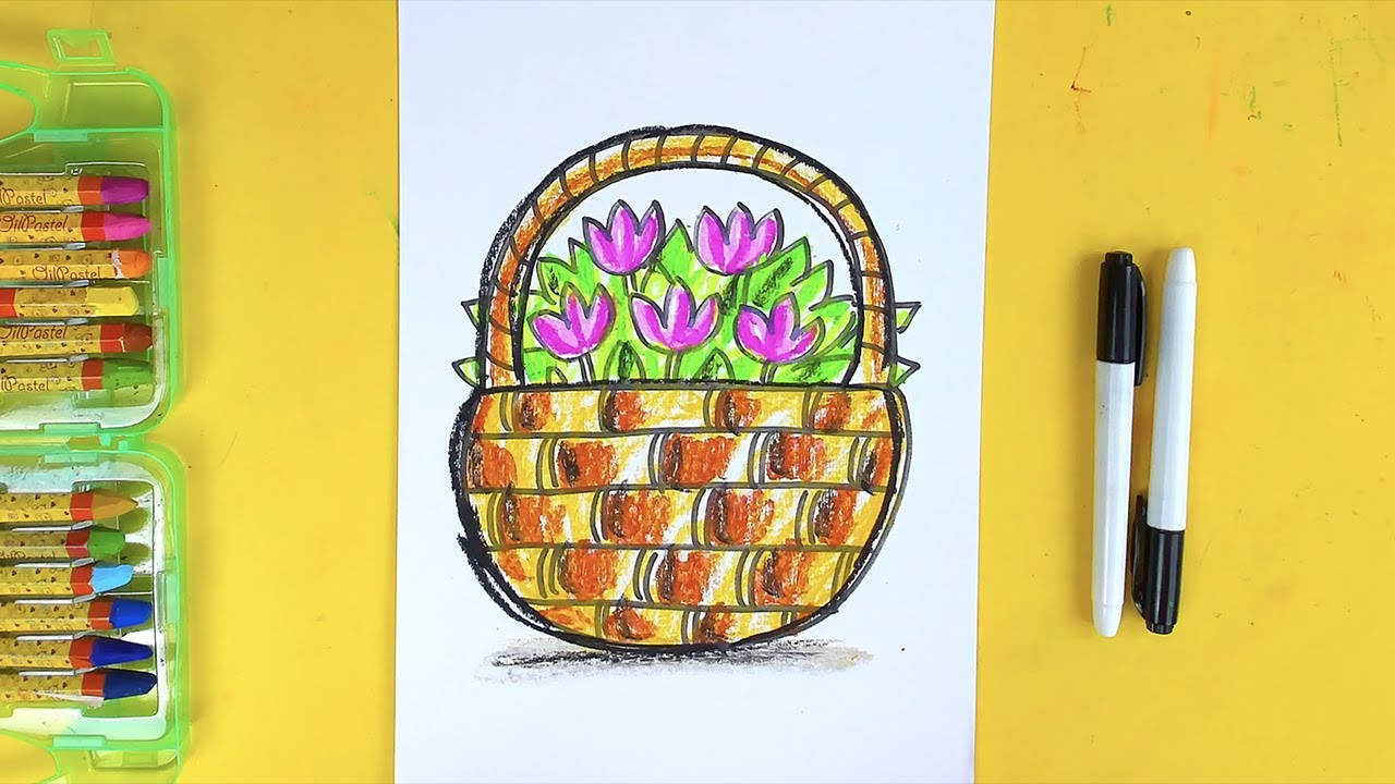 Рисуем ЛЕТОМ цветы в корзине - урок рисования для детей