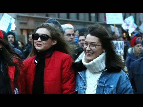 Gigi & Bella Hadid March Against Trump's Anti-Immigration Ban At Protest In New York City