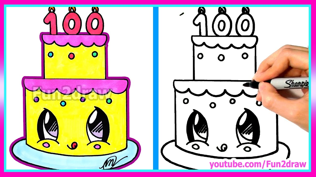 How To Draw And Color A Cute Cake Easy 100 Million Views