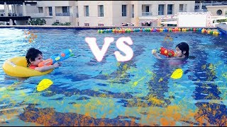 Kids Swimming In The Pool | Kids Fishing and Playing Water Games | Outdoor Play Area Activities