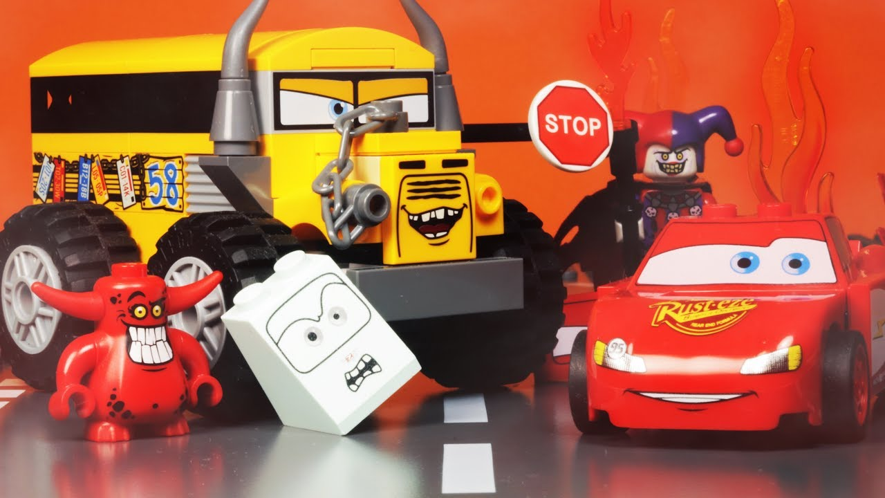 Lego Miss Fritter Vs Lightning Mcqueen Cars 3 Crazy 8 Demolition Derby Nightmare Short Movie
