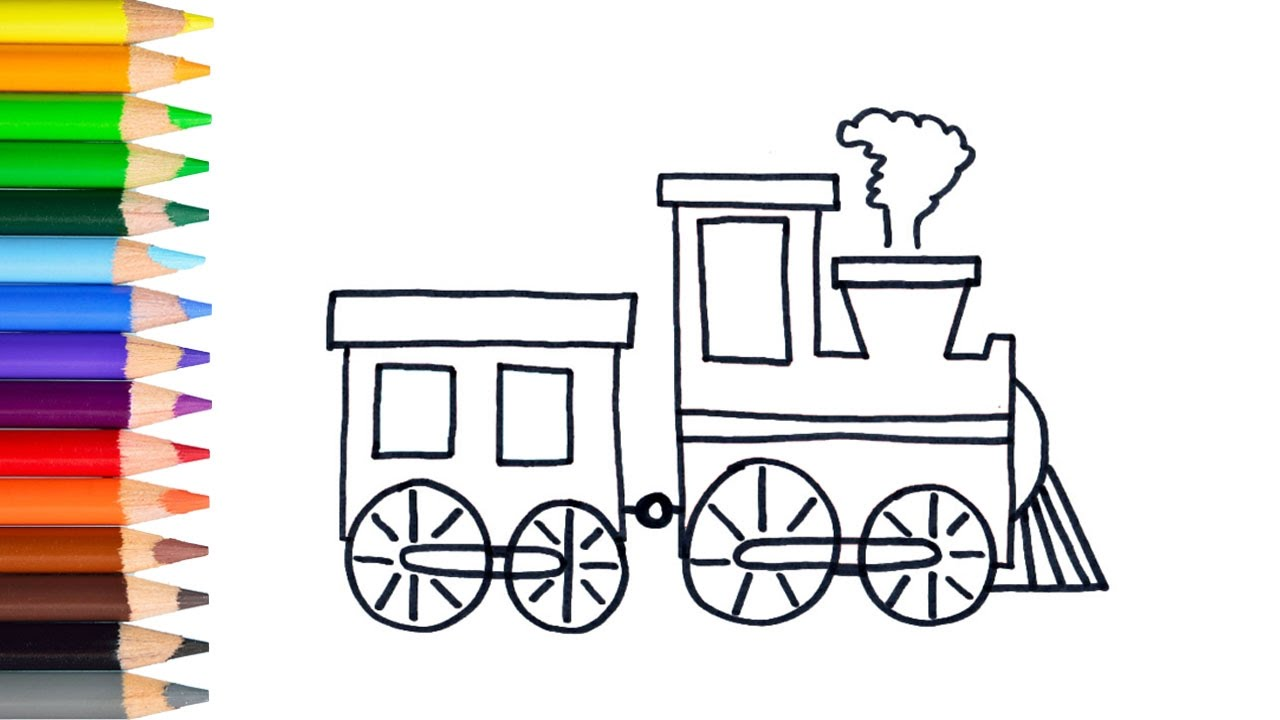 Train coloring pages for toddlers - Learn How To Draw Easy Train Teach Drawing For Kids Toddlers Coloring Page Video