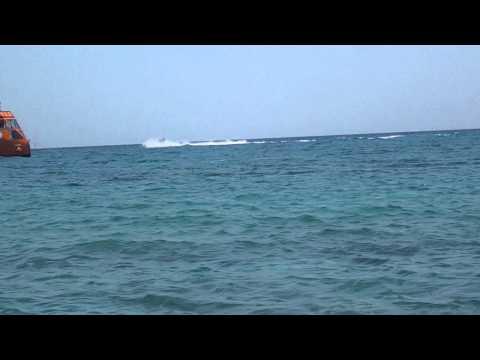 Hayward on Jet ski in Ayia Napa, near Nissi beach.