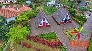 Ilha da Madeira aerial - Seaside Waterfall to Santana Typical Houses - 4K Ultra HD