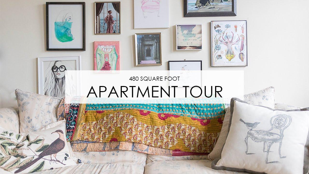 Apartment Tour: Boho Style in 480 Square Feet - YouTube