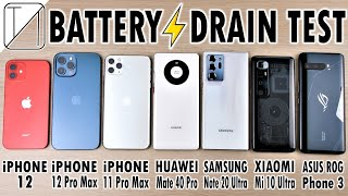 iPhone 12 vs 12 Pro Max /11 Pro Max /Mate 40 /Note 20 /Mi 10 Ultra /ROG 3 Battery Life DRAIN Test!