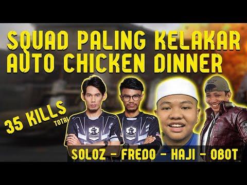 Squad Paling Kelakar!! Fredo, Soloz, Haji & Obot Auto Chicken Dinner   PUBG Mobile Malaysia
