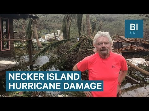 Richard Branson shows the hurricane damage caused to his luxury home on Necker Island