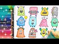 How to draw a cartoon MONSTER FAMILY ,Cute HAPPY MONSTERS Easy drawing and coloring forkids