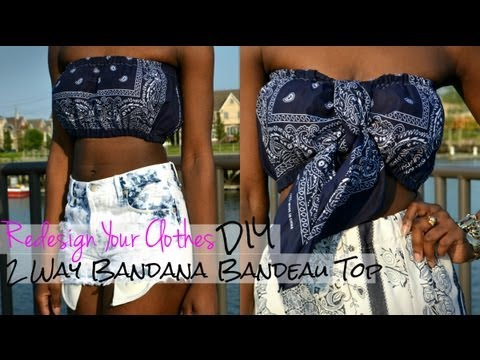 b94a617a92 RYC) 7  How To Make A 2 Way Bandana Bandeau Top - YouTube