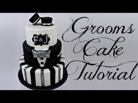 TUXEDO GROOMS CAKE TUTORIAL || Janie's Sweets