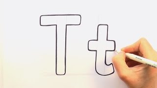 How to Draw a Cartoon Letter T and t
