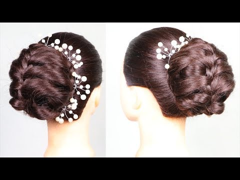 New Bun hairstyle For Party/wedding 2019 || braided hairstyles || bridal hairstyle || messy bun thumbnail