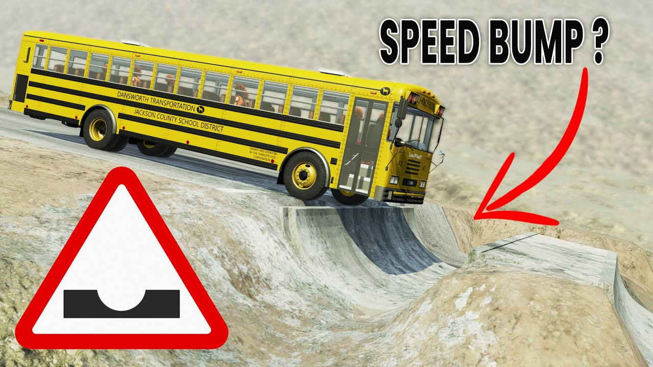 BeamNG Drive - Cars vs Inverted Speed Bumps (High Speed)
