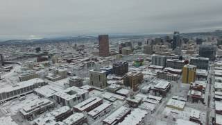 Drone flyover of Pearl District after Snow Storm