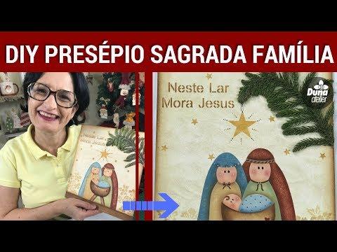 DIY PRESÉPIO SAGRADA FAMÍLIA ESTÊNCIL   Pintando Com o ❤ #88   TÂNIA MARQUATO