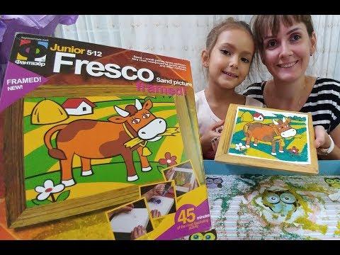 Junior Fresco Kum boyama bu kum boyama farklı oldu.Sand picture , eğlenceli çocuk,toys unboxing