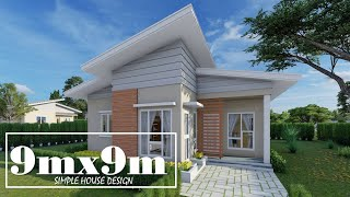 9mx9m Simple House Design with 3 Bedrooms