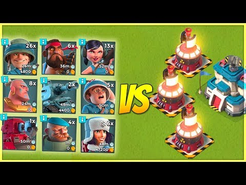 Boom Beach 3 MAX Microwavers vs EVERY SINGLE Troop! Insane Splash Damage!