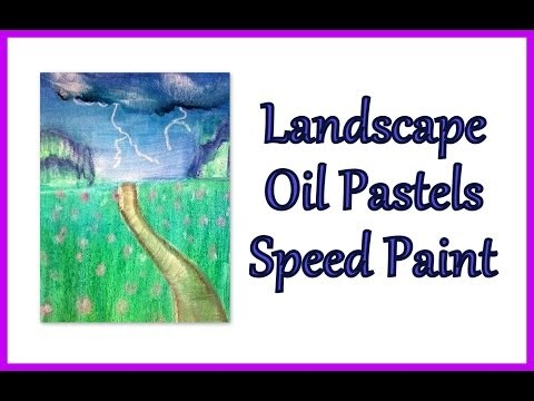 Oil Pastel Landscape Speed drawing Speed Paint