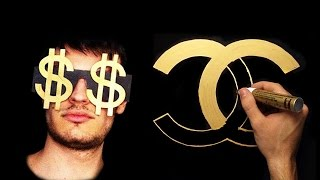 Gold Drawing - How To Draw Gold Luxury  Chanel Logo | Famous Brand