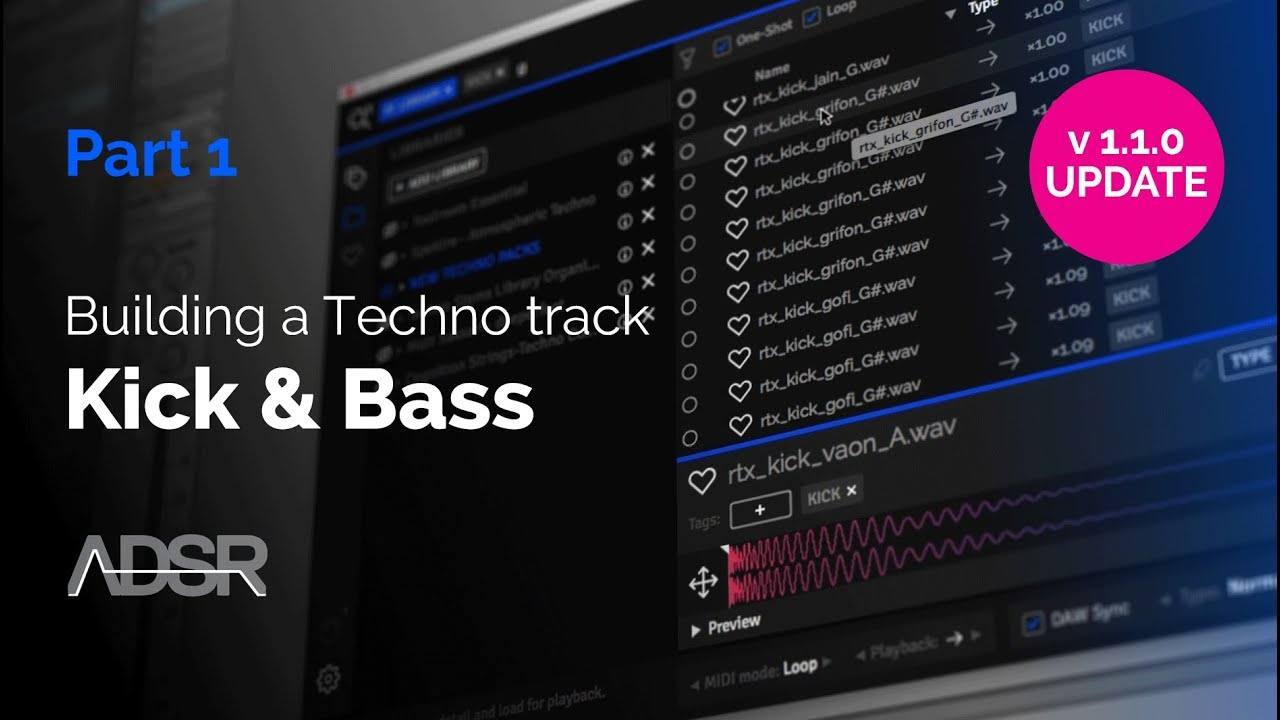 Building a TECHNO track with ADSR Sample Manager PT1 - Kick & Bass