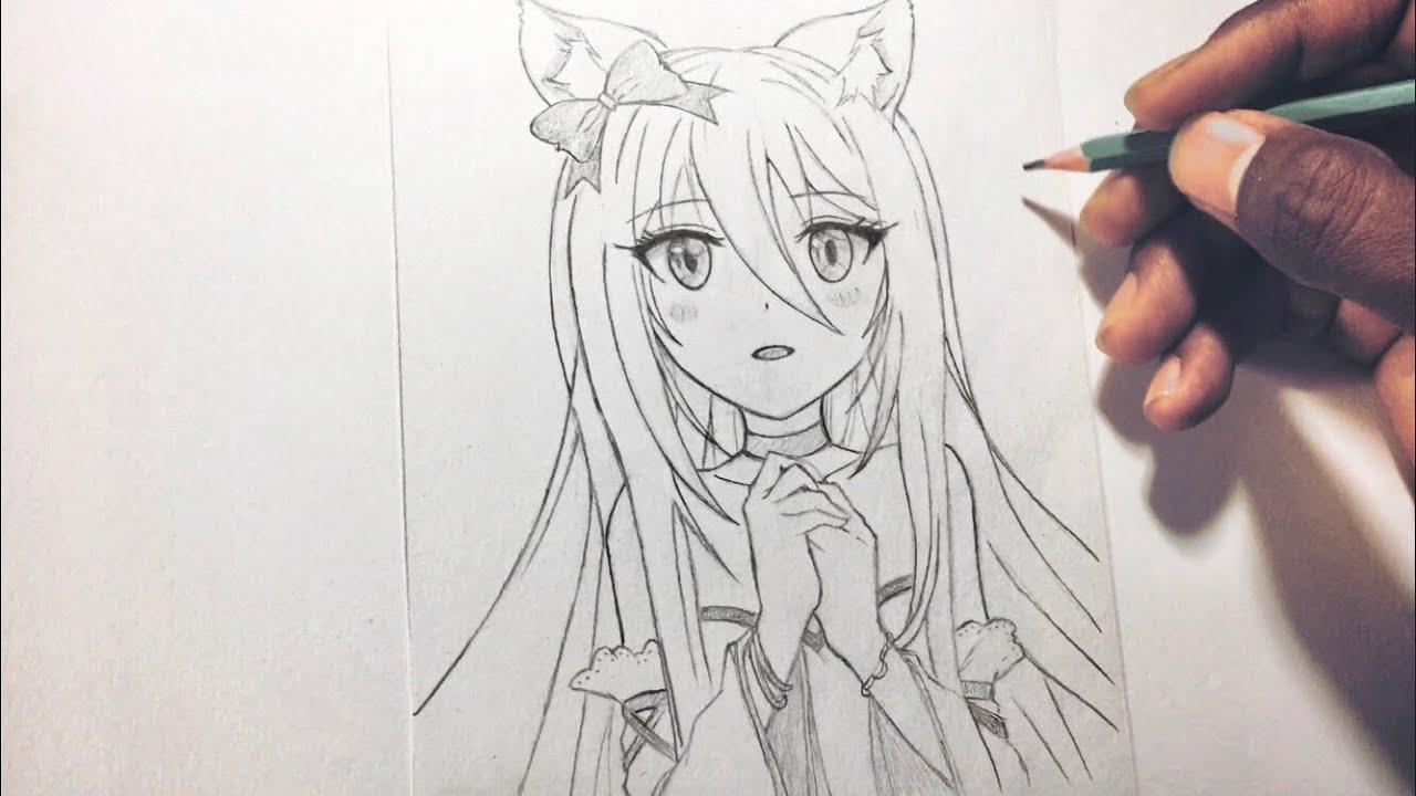 كيف ترسم فتاة انمي بقلم رصاص إحترافي How To Draw Cute Anime Girl