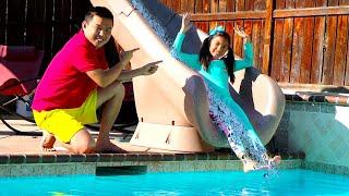 웬디의 거대한 워터 슬라이드 & 공기 주입 수영장 가상 놀이 여자 아이를 위한 어린이 장난감