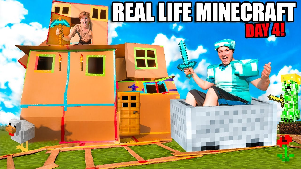 Real Life Minecraft Box Fort 24 Hour Challenge Day 4