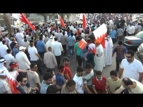 Bahrain: Spraying cold water on protesters because of hot weather.