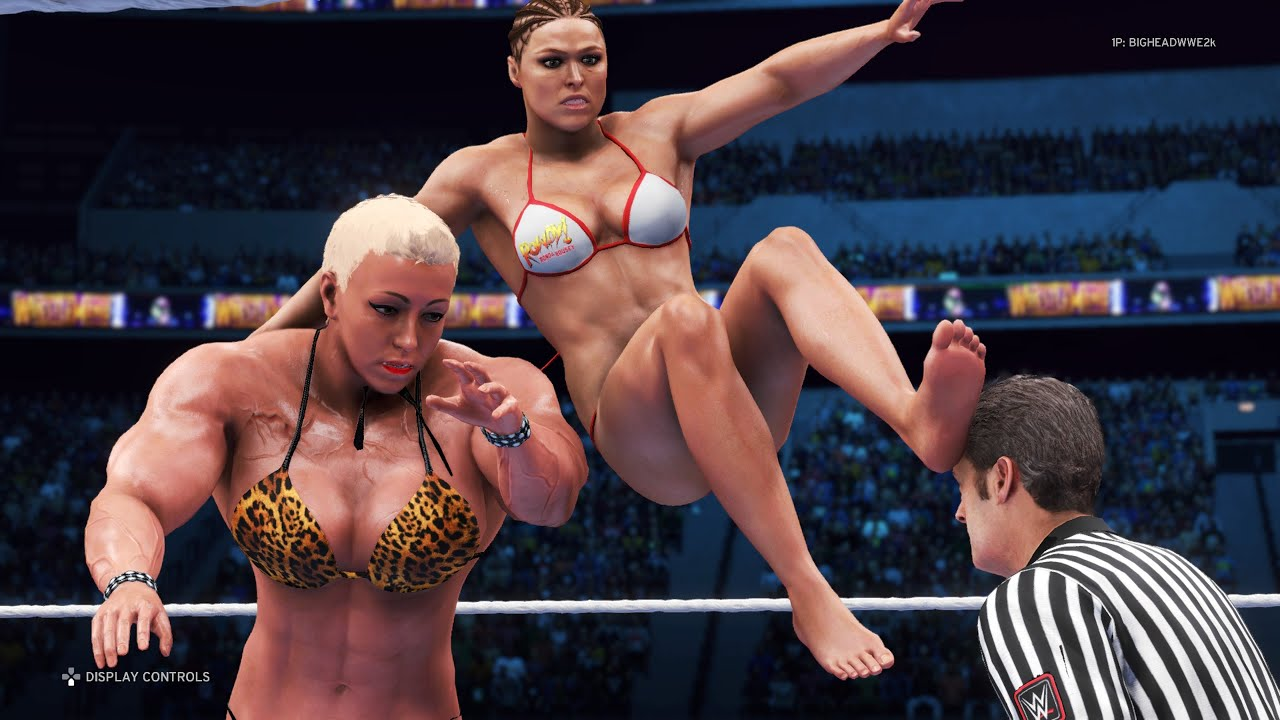 WWE 2K20 - Ronda Rousey vs. Heather - Bikini Girl Fights 💜